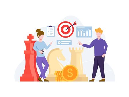 Vector illustration Investment strategy concept. Project management and financial report strategy. Business goals and plan, Business achievement and successful development. Vector in flat style