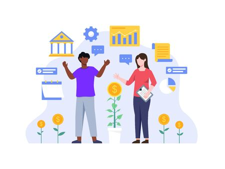 Investments and Finance concept. People working together and growing a successful financial. People and business concept for investment. Investing plans and strategy. Vector illustration in flat style Vettoriali