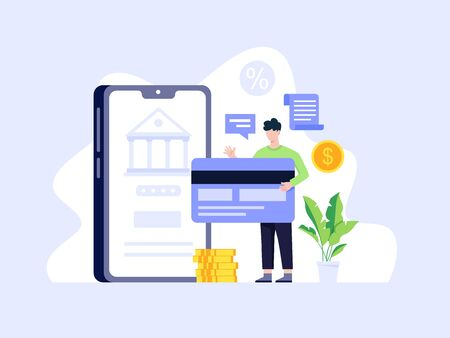 Concept online and mobile payments. Payment using a smartphone, Mobile payment, online banking. Pay online concept, Man paying with credit card. Cashless payment option, Vector in flat style