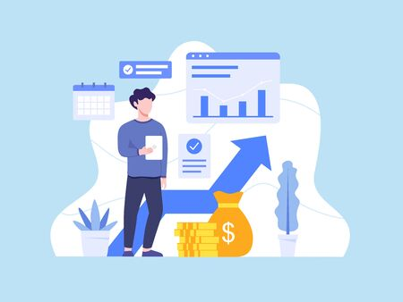 Investments and Finance concept. Monitoring investment growth, Report investment return. People and business concept for investment. Investing plans and strategy. Vector illustration in flat style Vettoriali