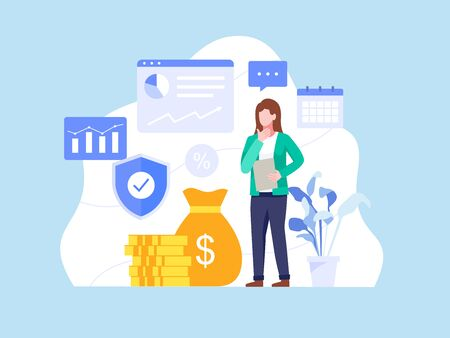 Investments and Finance concept. Woman working and growing a successful financial. People and business concept for investment. Investing plans and strategy. Vector illustration in flat style