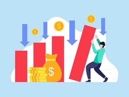 Bankruptcy vector illustration. Man holds back a collapsing bar graph. Economical loan payback problem and investment failure and budget collapse. Concept of failure investing, Vector in flat style Vettoriali