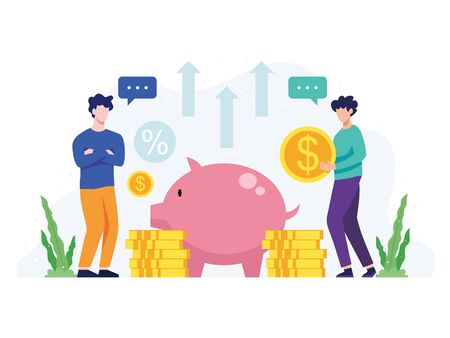 Vector illustration Money saving concept. People put money in piggy bank, Man holding a coin, concept of saving money and profit. Investment financial concept. Vector in flat style