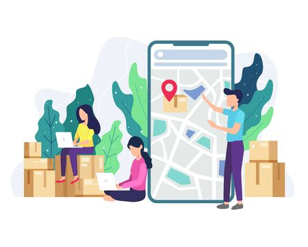 Vector illustration Delivery tracking concept. People tracking the package being sent. Online service delivery, Concept of free, fast delivery, shipping. Vector illustration in a flat style