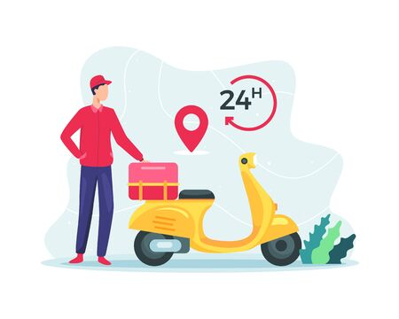 Vector illustration Fast delivery package by scooter. 24 Hours delivery service, Online delivery service. Concept of delivery service, e-commerce, freight forwarding services. Vector in flat style