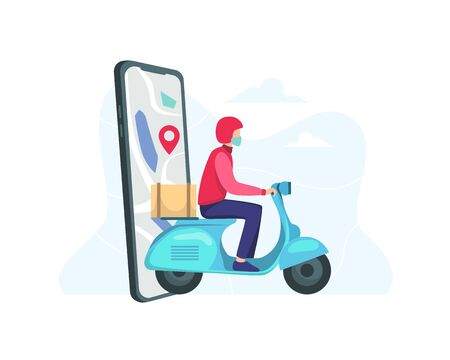 Fast delivery by scooter on mobile. Online delivery service concept, Online food or pizza order and packaging box. Courier deliver packages safely during a pandemic. Vector in flat style