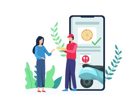 Vector illustration concept of Food delivery services. Delivery man is carrying a pizza from smartphone screen. Order pizza with a mobile application, Concept of delivery service. Vector in flat style