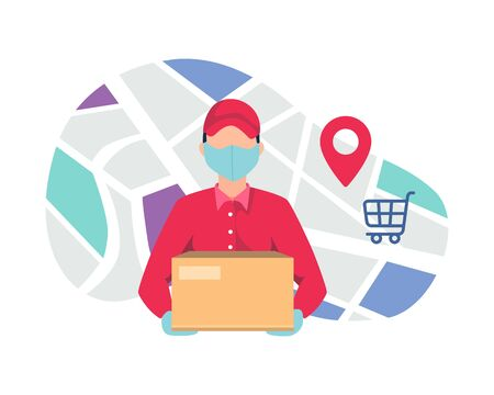 Courier delivering package using mask. Courier deliver packages safely during a pandemic. Home delivery services, Delivery of goods during the prevention of coronavirus. Vector in flat style Vettoriali