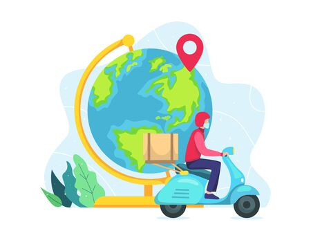 Vector illustration World wide delivery concept. Vector illustration of a world globe, A courier with scooter. Courier deliver packages safely during a pandemic. Vector illustration in a flat style
