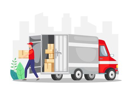 Courier delivering a package with truck. Delivery courier man holding package with delivery truck. Concept of freight forwarding services. Concept for delivery service, ecommerce. Vector in flat style Vettoriali