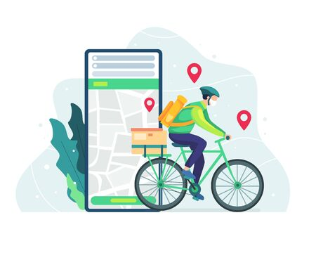 Delivery and courier service concept. Courier bicycle delivery man with parcel box on the back. Delivery man riding bicycle, Deliver food or packages in time. Bicycle courier, Vector in flat style