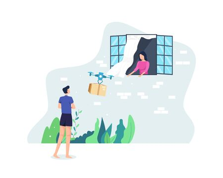 Drone delivery service concept. Young man sends a package with a drone to the recipient's home. Courier distributing boxes using modern technology device. Vector illustration in a flat style