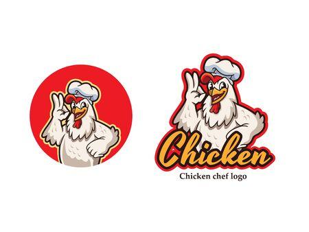 Chicken mascot logo vector. Chicken vector illustration. Chicken chef restaurant logo. Organic farm vector logo design