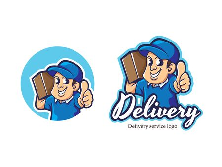 Courier mascot logo vector. Delivery vector illustration. Delivery man logo. Delivery service vector logo design