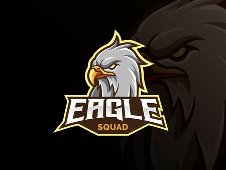 Eagle mascot sport logo design. Bird animal mascot vector illustration logo. Wild eagle head mascot, Emblem design for esports team. Vector illustration Иллюстрация