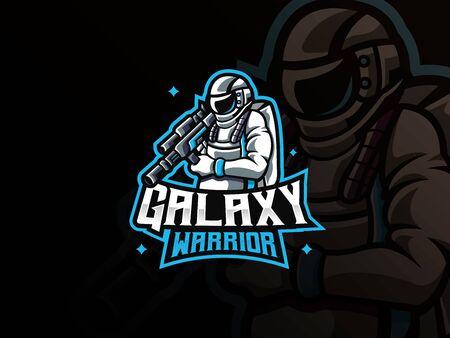 Astronaut mascot sport logo design. Space war mascot vector illustration logo. Galaxy warrior mascot, Emblem design for esports team. Vector illustration