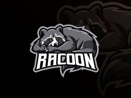 Raccoon mascot sport logo design. Racoon animal mascot vector illustration logo. Wild raccoon mascot, Emblem design for esports team. Vector illustration