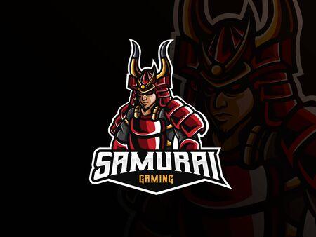 Samurai mascot sport logo design. Samurai mascot vector illustration logo. Samurai warrior mascot, Emblem design for esports team. Vector illustration