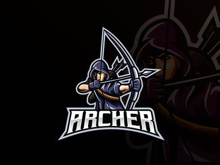 Archer mascot sport icon design. Vettoriali