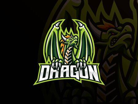 Dragon mascot sport icon design.