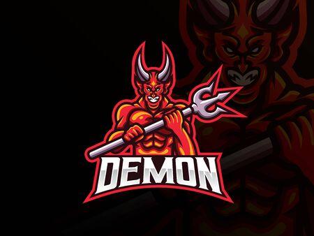 Demon mascot sport icon design.