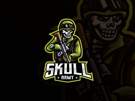 Skull military mascot sport icon design. Иллюстрация