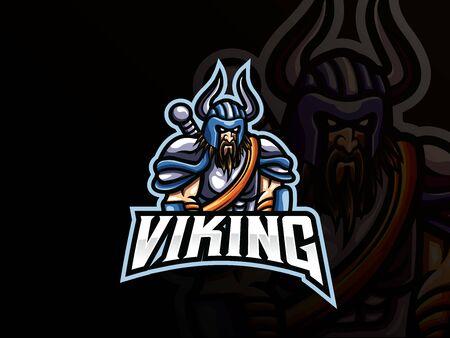 Viking mascot sport icon design.