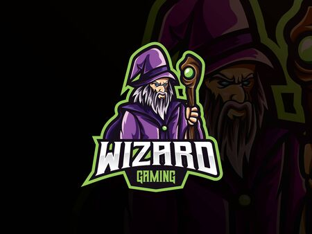 Wizard mascot sport icon design.