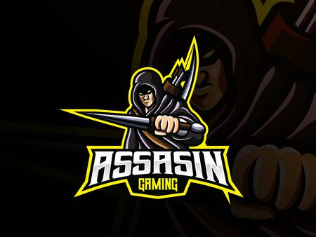 Assassin mascot sport icon design. Archivio Fotografico - 150160905