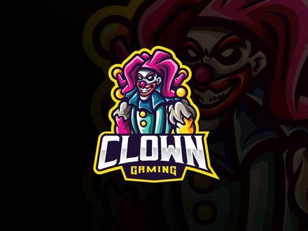 Clown mascot sport icon design. Vettoriali