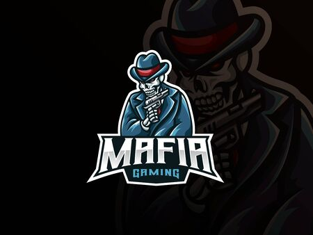 Mafia skull mascot sport design. Archivio Fotografico - 150160908