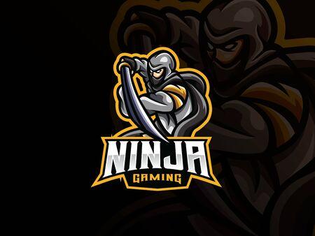 Ninja mascot sport icon design.
