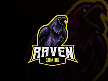 Raven mascot sport design.