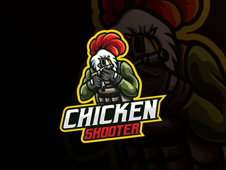 Rooster mascot sport logo design. Chicken army mascot vector illustration logo. Rooster gunner mascot design, Emblem design for esports team. Vector illustration