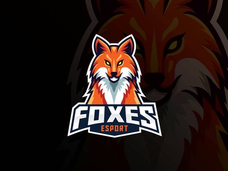 Fox mascot sport logo design. Fox animal head mascot vector illustration logo. Wild red fox mascot design, Emblem design for esports team. Vector illustration Archivio Fotografico - 150214657