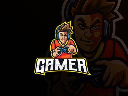 Gamer mascot sport logo design. Gamer boy mascot vector illustration logo. Gamer character mascot design, Emblem design for esports team. Vector illustration