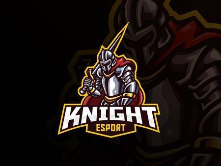 Knight mascot sport logo design. Iron knight mascot vector illustration logo. Warrior mascot design, Emblem design for esports team. Vector illustration