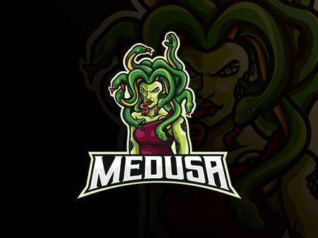 Medusa mascot sport logo design. Monster mythology mascot vector illustration logo. Myth of Medusa mascot design, Emblem design for esports team. Vector illustration