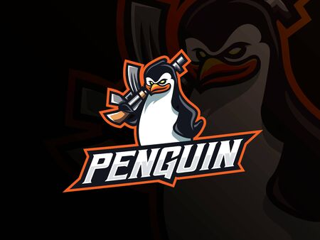 Penguin mafia mascot sport logo design. Penguin animal mascot vector illustration logo. Pinguin tactical mascot design, Emblem design for esports team. Vector illustration 向量圖像