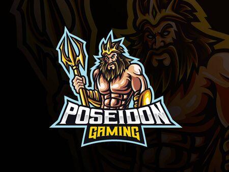 Poseidon mascot sport logo design. Mythology poseidon mascot vector illustration logo. Poseidon mascot design with trident weapon, Emblem design for esports team. Vector illustration