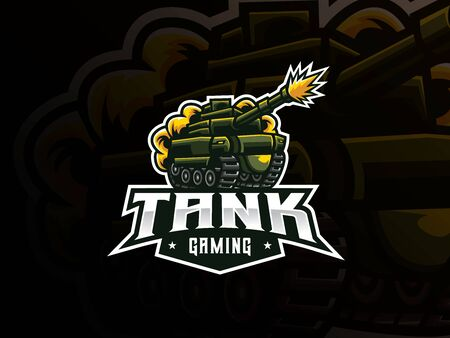 Tank mascot sport logo design. Military tank mascot vector illustration logo. War battle mascot design, Emblem design for esports team. Vector illustration