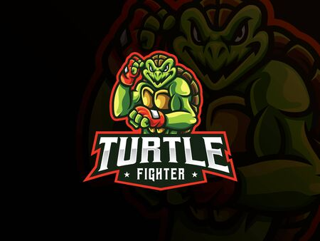 Turtle mascot sport logo design. Turtle fighter mascot vector illustration logo. Turtle mutant mascot design, Emblem design for esports team. Vector illustration Archivio Fotografico - 150214668
