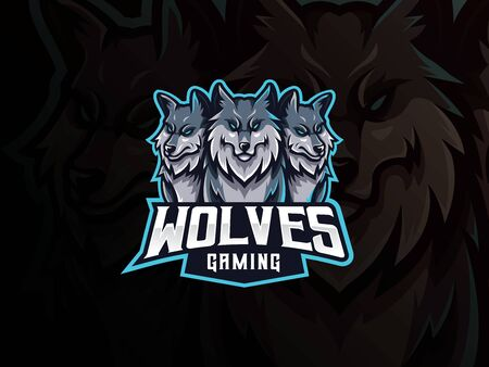 Wolves mascot sport logo design. Cerberus head mascot vector illustration logo. Wild beast wolf mascot design, Emblem design for esports team. Vector illustration 向量圖像