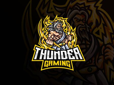 Zeus mascot sport logo design. Zeus mythology mascot vector illustration logo. Zeus thunderbolt gods mascot design, Emblem design for esports team. Vector illustration
