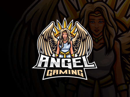 Angel mascot sport  design. Guardian angel mascot vector illustration  . Angel woman mascot design, Emblem design for esports team. Vector illustration  イラスト・ベクター素材