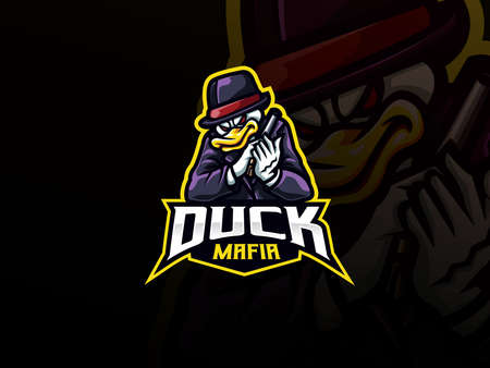 Duck mascot sport  design. Duck gangster animal mascot vector illustration  . Duck mafia mascot design, Emblem design for esports team. Vector illustration