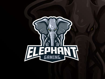 Elephant mascot sport  design. Elephant animal head mascot vector illustration  . Wild elephant mascot design, Emblem design for esports team. Vector illustration