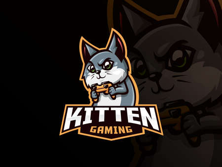 Cat mascot sport   design. Cat gamer mascot vector illustration  . Kitten playing game with gamepad, controller. Emblem design for esports team. Vector illustration