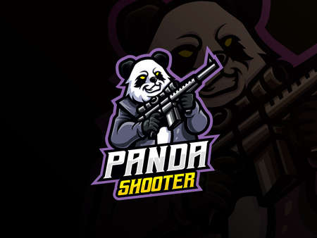 Panda mascot sport  design. Panda warrior mascot vector illustration  . Wild panda mascot with gun, Emblem design for esports team. Vector illustration