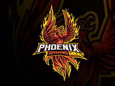 Phoenix mascot sport  design. Mythology bird mascot vector illustration  . Red phoenix mascot design, Emblem design for esports team. Vector illustration